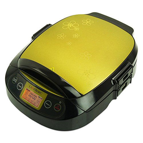 Liven LR-300HF Foldaway Foldaway 180 Degrees Electric Griddle Skillet, Double Baking Pan Non-stick, 1200W, Gold(Suitable for Chinese) (Waffle Maker Non Teflon compare prices)