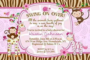 Whimsical Monkey Jungle Girl Giraffe Zebra Baby Shower Invitations