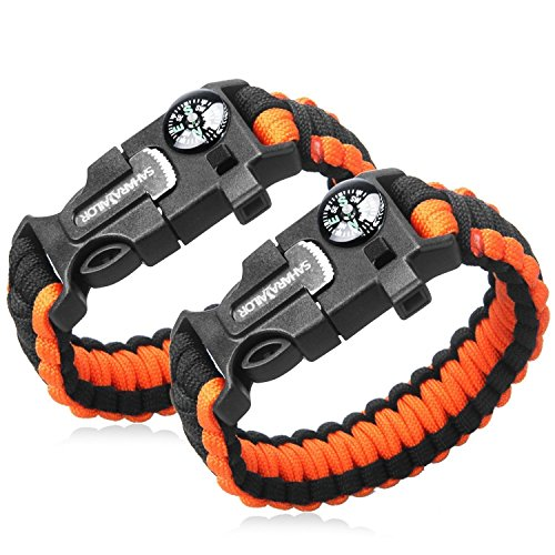 2PCS PACK Multifunctional Paracord Bracelet, Sahara Sailor Outdoor Survival Kit Parachute Cord Buckle W Compass Flint Fire Starter Scraper Whistle for Hiking Camping for Kids and Women - Orange (Kids Outdoor Tools compare prices)