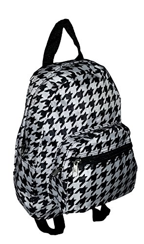 Mini Backpack Purse 11-inch, Zipper Front Pockets Teen Child (Houndstooth)