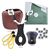 Hunting Slingshots Bundle : Slingshot,Slingshot Pouch, Genuine Leather Ammo Pouch and 100XSlingshot Ammunitions (6 in 1) (Color: 6 in 1, Tamaño: 126mmx86mm)