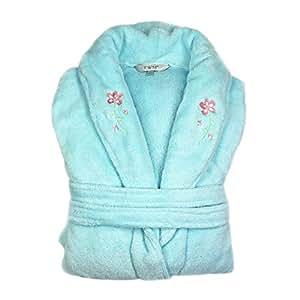 Linens Limited Edinburgh Woollen Mill Bath Robe, Light Blue, Large