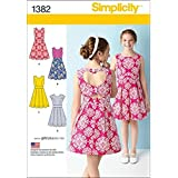 Simplicity Creative Patterns 1382 Girls' and Girls' Plus Dress with Back Variations, AA (8-10-12-14-16)