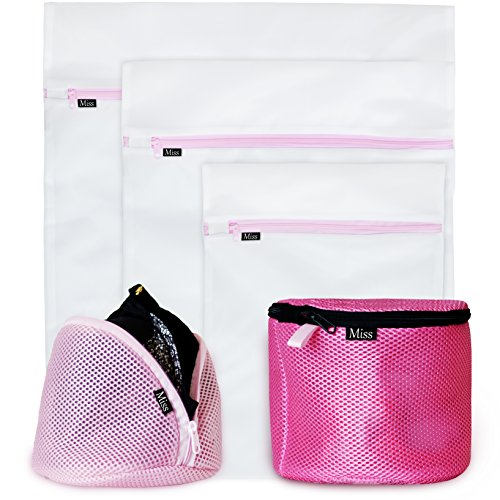 NEW PREMIUM Delicates Wash Bags (SET OF 5) by Miss & Co.- Mesh Garment & Bra Laundry Bag - Large, Medium, Small for Washing Machine/Dryer Lingerie Washer, Baby Clothes, Underwear, Organizer, Travel (Garment Washer Bag compare prices)