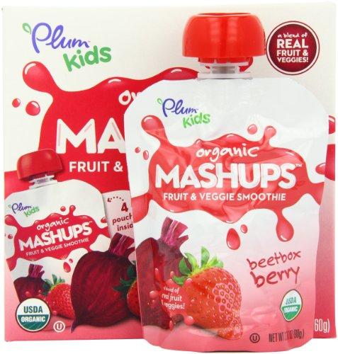 Plum Kids Organic Fruit and Veggie Mashups Beetbox Berry 4 Count Pack of 6