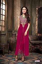 Rajnandini Women's Georgette Salwar Suit Dress Material(Dark Pink_Large)
