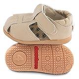 ShooShoos - Zapatitos de piel suela dura, sandalias beige, 23