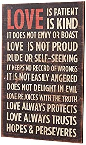 Your Hearts Delight Love is Patient Wooden Sign, 12 by 19-1/4-Inch