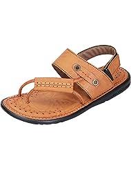 DATZZ Men's Tan Denim Sandals - B018U63002