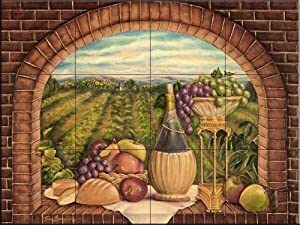 Tuscan Wine II by Rita Broughton | Tile Mural for Kitchen