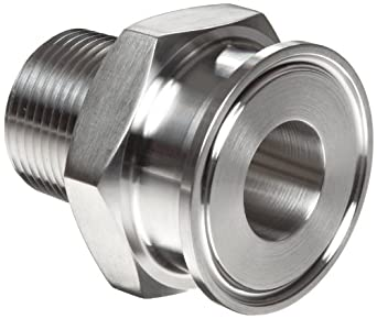 "Parker Sanitary Tube Fitting, Stainless Steel 304, Adapter, 1"" Tube OD x 1"" NPT Male"