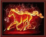 Bricolage numérique toile peinture à l'huile de décoration à cheval nombre kits de feu 16 * 20 pouces....