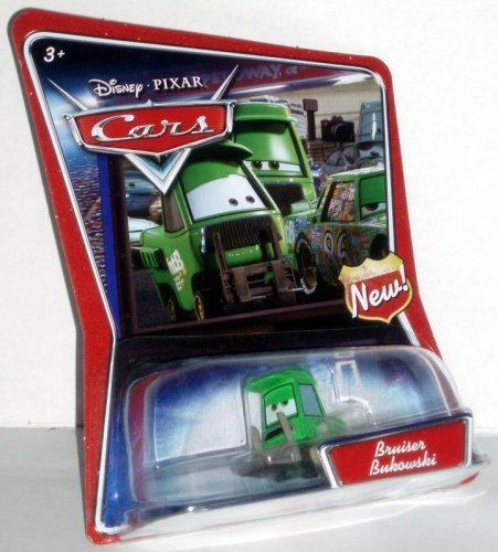 """Bruiser Bukowski Disney Pixar Cars 1:55 Scale Supercharged Edition With """"New"""" Symbol Sign On Card - 1"""