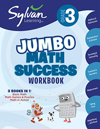 3rd Grade Jumbo Math Success Workbook Activities, Exercises, and Tips to Help Catch Up, Keep Up, and Get Ahead (Sylvan Math Super Workbooks) [Sylvan Learning] (Tapa Blanda)