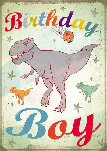Birthday Boy T-Rex Greeting Card by Max Hernn & Peter Seal