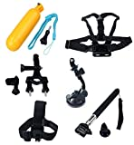 AADigital Mounting Kit for GoPro, Kit Includes Monopod Mount, Suction Cup Mount, Head Strap Mount, Handlebar Seatpost Mount, Chest Mount Harness, Floating Hand Grip, for Go Pro Hero3+ Camcorder, Black Edition, Black Surf Edition, Motorsports Edition, Sil