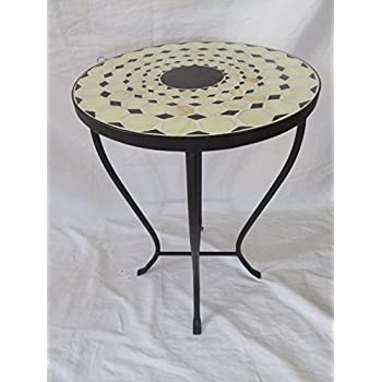 Beige / Black Mosaic Black Iron Outdoor Accent Table 21