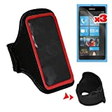 Premium 3 Packs of LCD Clear Screen Protector + Red Sport Armband for Nokia Lumia 800