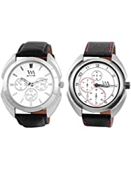 Watch Me WHITE Combo Set Of 2 Analogue Watches Gift For MEN WMAL-82B-78W