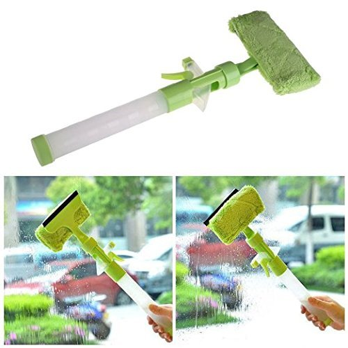 DASTAR™ Multifunctional/All in One Squeegee Window Wiper with Microfiber Scrubber and Spray Bottle (GREEN) (Window Washing Fluid For Car compare prices)