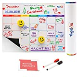 Magnetic Fridge Calendar White Board And Organizer 16x12 Inch With Markers, Smiley Face Erasers and Photo Corners by MagnetElite
