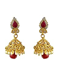 Surat Diamonds Traditional Drop Shaped Red & White Coloured Stone & Gold Plated Copper Jhumki Earrings For Women...