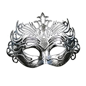 Coofit® Retro Roman Gladiator Halloween Party Masks Man Woman Children Masquerade Mask (Crown Silver) by Coofit
