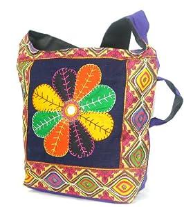 Womens Purple Cross Body Bag  Beautiful Handmade Tote Beach & Shopper Cotton Shoulder Bag  Canvas Travel Bags