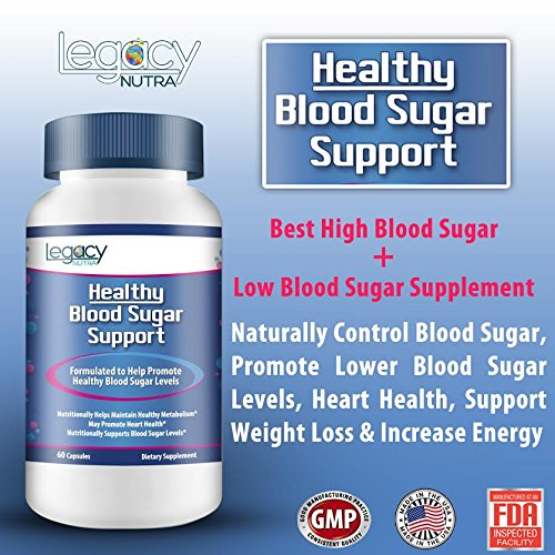 #1 Best High Blood Sugar + Low Blood Sugar Supplement | Naturally Control Blood Sugar | Promote Lower Blood Sugar Levels, Heart Health, Support Weight Loss & Increase Energy | Full 2 Month Supply
