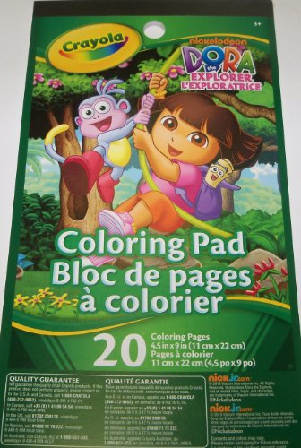 "Dora the Explorer Coloring Pad by Crayola ~ Dora and Boots Swinging Cover (20 pages; 4.5"" x 9"") - 1"
