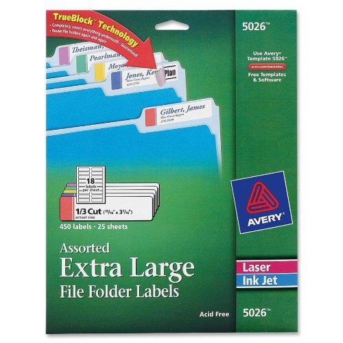 Avery® Extra-Large File Folder Labels In Assorted Colors For Laser And Inkjet Printers With Trueblock(Tm) Technology, 15/16 Inches X 3-7/16 Inches, Pack Of 450 (5026)