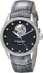 Raymond Weil Women's 2750-SLS-20081 Freelancer Diamond-Accented Stainless Steel Automatic Watch with Gray Leather Band