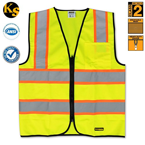 KwikSafety Class 2 Safety Vest High Visibility, Reflective Contrasting Trims