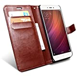 #10: HOM Wallet Book Design Phone Case with Flip Cover and Credit Card Slot Magnetic Closure, Stand View Case For Xiaomi Redmi Note 4 - Brown Colour