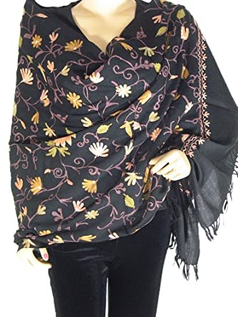 Black Embroidered Kashmir Wrap Classic Cashmere Fashion Designer Shawl Stole