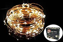 Premium LED String Lights - Starry Lights - Christmas Lights - Fairy Lights 33 Ft. 100 LED 5v Warm White Copper Wire with 5v UL listed US Plug Adapter for Wedding & Party for Indoors & Outdoors