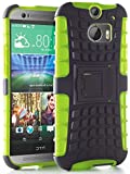 myLife Gecko Green + Deep Gray {Rugged Design} Two Piece Neo Hybrid (Shockproof Kickstand) Case for the All-New HTC One M8 Android Smartphone - AKA 2nd Gen HTC One (External Hard Fit Armor With Built in Kick Stand + Internal Soft Silicone Rubberized Flex Gel Full Body Bumper Guard)