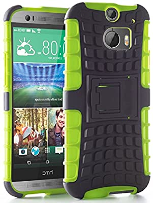 myLife Gecko Green + Deep Gray {Rugged Design} Two Piece Hybrid (Shockproof Kickstand) Case for the All-New HTC One M8 Android Smartphone - AKA, 2nd Gen HTC One (External Hard Fit Armor With Built in Kick Stand + Internal Soft Silicone Rubberized Flex Gel Full Body Bumper Guard)