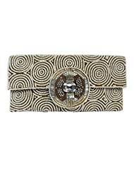 Women's Evening Bag - Layered Mother Of Pearl Circles On Silk Clutch