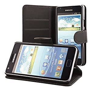 ECENCE Samsung Galaxy S2 i9100 S2 Plus i9105 Coque de protection Housse Pochette wallet Case noir + protection d'écran 11010203