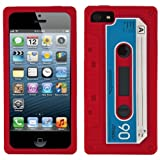 Red Audio Classic Cassette Silicone Case Cover Skin Protector For Apple iPhone 5 iOS (6) Smart Phone + BLACK Cord Organizer + Apple iPhone 5 Screen Protector + an eBigValue TM Determination Hand Strap