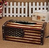 Amateras 木製 ティッシュケース ボックス 国旗 レトロ アンティーク 雑貨 米国 英国 USA UK アメリカ イギリス ティッシュ ケース オリジナル LOGO ボールペン 付き (アメリカ国旗風)