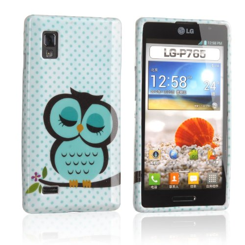 Vandot 2IN1 Phone Mobile Accessory For LG Optimus P760 L9 P768 P765 Soft TPU Silicone Back Case Cover Protection Skin Shell Night Owl Polka Dot + 1x Stylus Touch Pen (Flexible color)- Green White Cute Cartoon on the Branch Tree