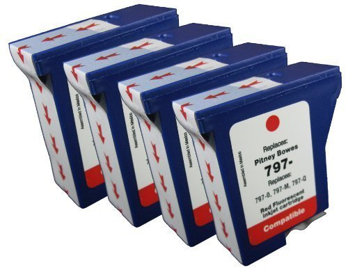 4pk of Compatible Pitney Bowes 797-0 797-M 797-Q Postage Meter ink for use in Pitney Bowes MailStation, K700, K7M0, MailStation 2 machines-red fluorescent (Pitney Bowes Postage Machine Ink compare prices)