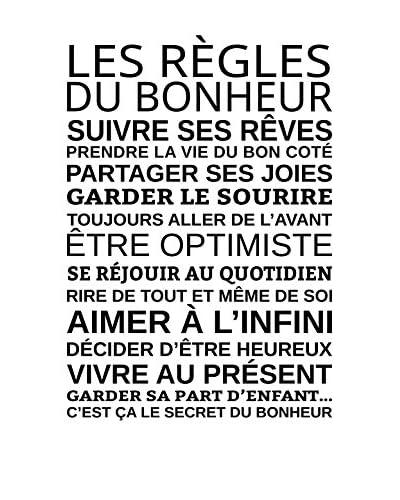 ZZ-Ambiance-sticker Vinilo Decorativo Les Règles Du Bonheur