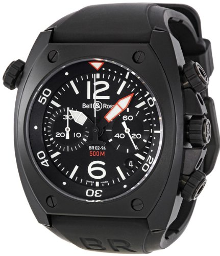Bell & Ross Men's BR-02-94-CARBON Marine Black Chronograph Dial Watch Watch
