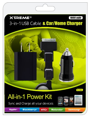 Xtreme 88203 3-In-1 Usb Cable And Car/Home Charger - Retail Packaging - Black