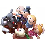 Homgaty 8 Pcs The Enormous Turnip Animals Finger Puppets Story Telling Nursery Fairy Tale The Perfect Birthday, Christmas Gift