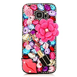 Samsung Galaxy S6 Edge Case, STENES Luxurious Crystal 3D Handmade Sparkle Diamond Rhinestone Clear Cover with Retro Bowknot Anti Dust Plug - Big Flowers Sexy Lips Girls Lipstick / Red