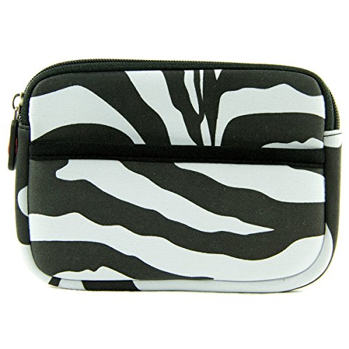 Zebra Print Neoprene On-The-Go Storage Case for Fitness Tracker Wristband Like Fitbit Flex, Alta Small, Charge, Charge HR, Blaze, Surge